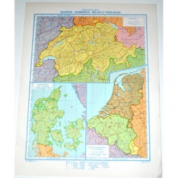 Cartina geografica da banco in carta SVIZZERA-DANIMARCA-BELGIO-PAESI BASSI