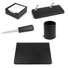 Set da scrivania VIP in sintetico morbido nero, composto da: apribusta, bicchiere portapenne, portanotes, portastilofori e sotto